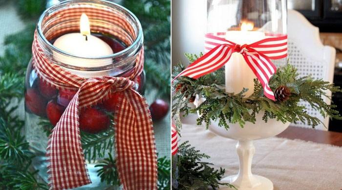 Часто просто помещают обычную белую свечу в баночку или бокал, который декорирован лентами или другими материалами